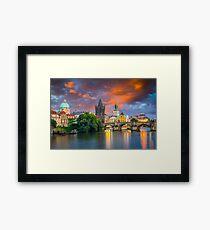 River Vltava at Dusk Prague Czech Republic Framed Print