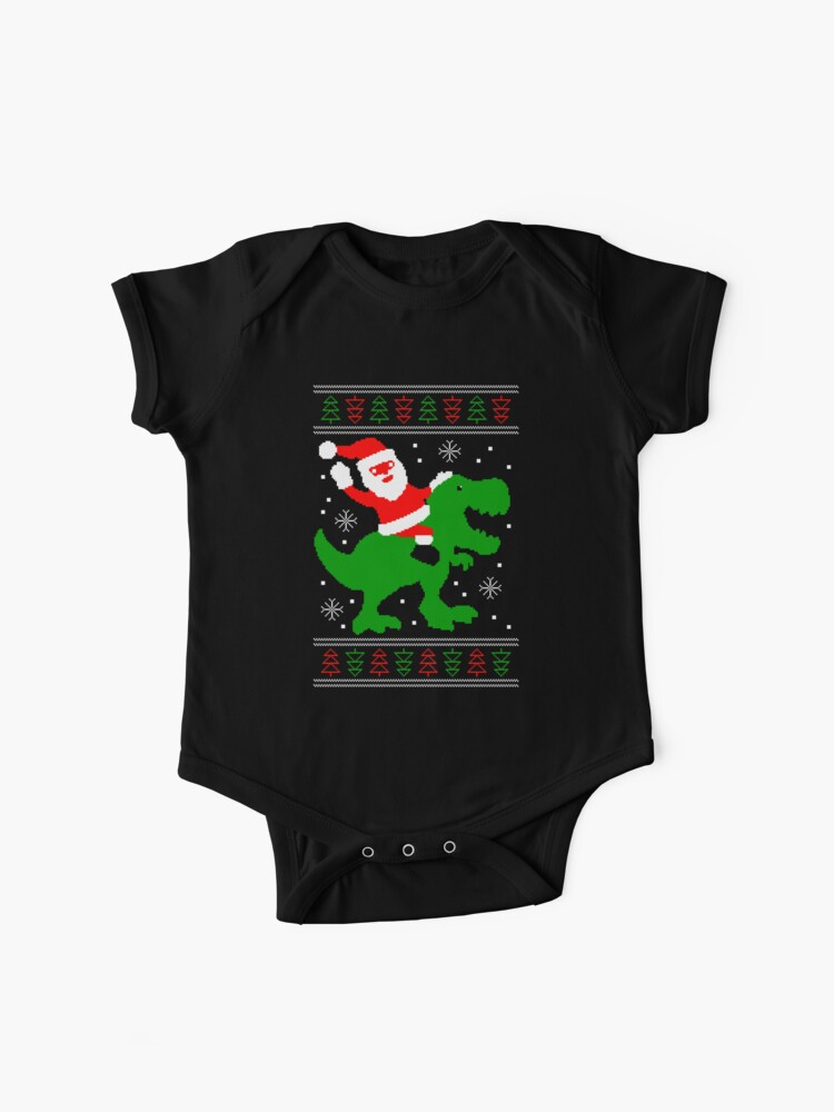 T Rex Ugly Christmas Sweater.Ugly Christmas Sweater Santa T Rex Baby One Piece