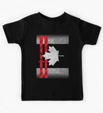 Kanada-Tag - Kanada-Flaggen-Ski-Skifahren Kinder T-Shirt