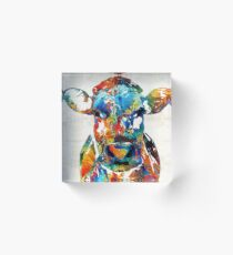 Colorful Cow Art - Mootown - By Sharon Cummings Acrylic Block