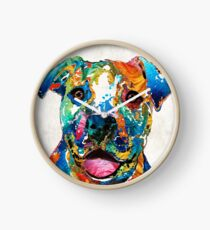 Colorful Dog Pit Bull Art - Happy - By Sharon Cummings Clock
