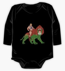 He-man and BattleCat Filmation Style One Piece - Long Sleeve