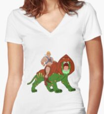He-man and BattleCat Filmation Style Women's Fitted V-Neck T-Shirt