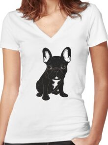 Brindle French Bulldog  Women's Fitted V-Neck T-Shirt