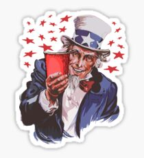 Uncle Sam Solo Cup T-Shirt - College Party Drinking Alcohol Sticker