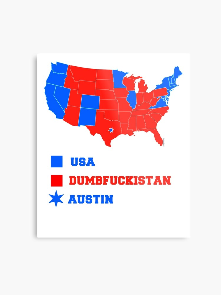 picture about Electoral Map Printable named United states ELECTORAL MAP CORRECTED FOR AUSTIN TEXAS Steel Print