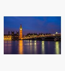Big Ben, Houses of Parliament and Westminster Bridge at Night Photographic Print