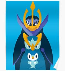 """Piplup, Prinplup y Empoleon """"Piplup evolution"""" Poster"""
