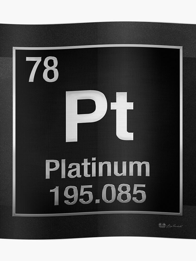 Periodic Table Of Elements Platinum Pt Platinum On Black Poster