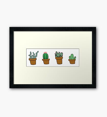 cactus hipster drawing Framed Print