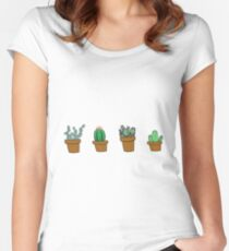 cactus hipster drawing Women's Fitted Scoop T-Shirt
