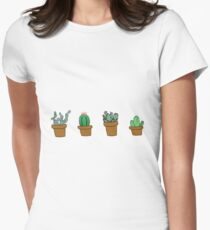 cactus hipster drawing Women's Fitted T-Shirt