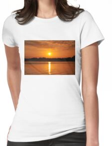 Orange Sunset on the Water Womens Fitted T-Shirt