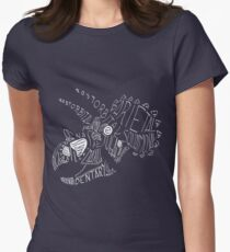 Monocolor Calligram Triceratops Skull Womens Fitted T-Shirt