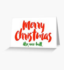 Christmas Card For Him - Boyfriend Christmas Card - For Girlfriend - Funny Holiday - Nice Butt Greeting Card