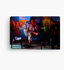 Ho Chi Minh City. Owner of the Street Restaurant Canvas Print