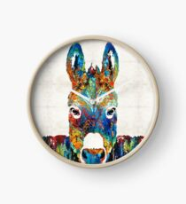 Colorful Donkey Art - Mr. Personality - By Sharon Cummings Clock