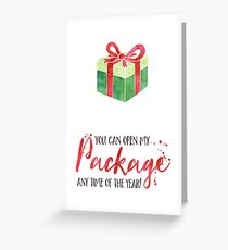 Funny Christmas Card For Him - For Her - Boyfriend Christmas Card - For Girlfriend - Funny Holiday Card - Naughty Christmas - Open My Package Greeting Card