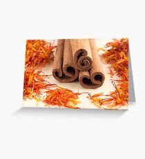 Macro view of the sticks of cinnamon and saffron Greeting Card