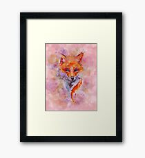 Watercolor colorful Fox Framed Print