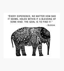 Lámina fotográfica Elefante de la sabiduría de Buda