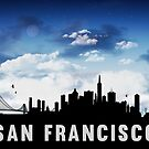 San Francisco California Skyline Cityscape Nightfall by T-ShirtsGifts