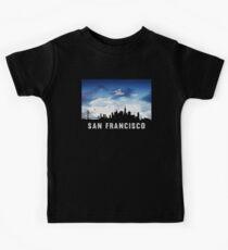 San Francisco California Skyline Cityscape Nightfall Kids Tee