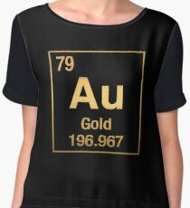 Periodic Table of Elements – Gold (Au) in Gold on Black Women's Chiffon Top
