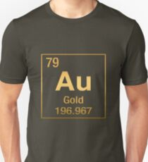 Periodic Table of Elements – Gold (Au) in Gold on Black T-Shirt