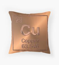 Periodic Table of Elements - Copper (Cu)  Throw Pillow