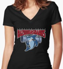 Langley Falls Bazookasharks Women's Fitted V-Neck T-Shirt