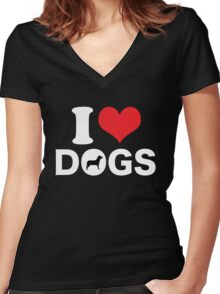 Cute Funny I Love DOGS Women's Fitted V-Neck T-Shirt