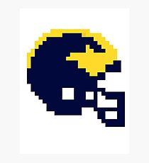 Michigan Wolverines 8-bit Football Helmet Photographic Print