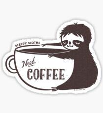 Sleepy Sloths Need Coffee  Sticker