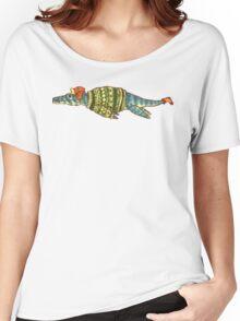 Hipster Liopleurodon Derposaur with Sweater and Ushanka Women's Relaxed Fit T-Shirt