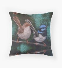 Fairy Wren Pair #2 Throw Pillow