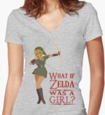 What if Zelda was a girl? (it's a joke) Women's Fitted V-Neck T-Shirt