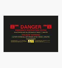 EMERGENCY DESTRUCTION SYSTEM Photographic Print