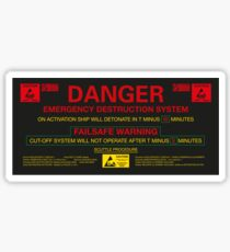 EMERGENCY DESTRUCTION SYSTEM Sticker