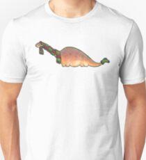Peach Apatosaurus with Earmuffs Unisex T-Shirt