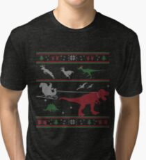 Dinosaur Xmas Sweater Tri-blend T-Shirt