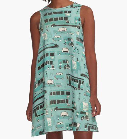Retro Traffic Pattern A-Line Dress