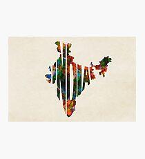 India Typographic Watercolor Map Photographic Print