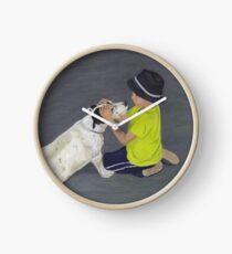 Little Boy and Bull Terrier Dog Clock