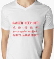 Danger keep out warning V-Neck T-Shirt