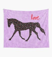 Cute Horse, Hearts and Love Wall Tapestry