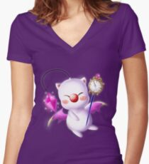 Time Traveling Moogle Women's Fitted V-Neck T-Shirt