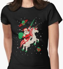 Santa and Unicorn Womens Fitted T-Shirt
