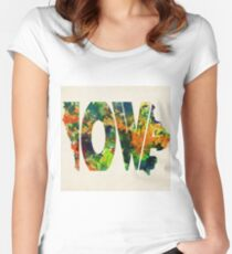 Iowa Typographic Watercolor Map Women's Fitted Scoop T-Shirt