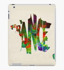 France Typographic Watercolor Map iPad Case/Skin